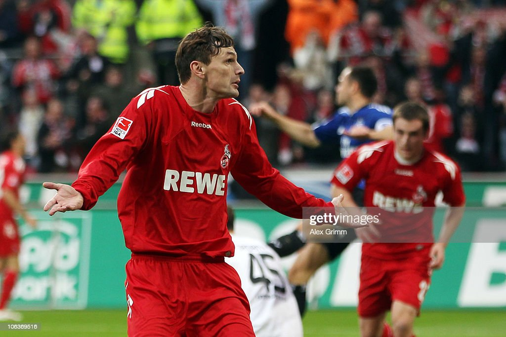 Milivoje Novakovic of Koeln celebrates his team's second goal during the Bundesliga match between 1 FC Koeln and Hamburger SV at the RheinEnergieStadion on October 30, 2010 in Cologne, Germany.