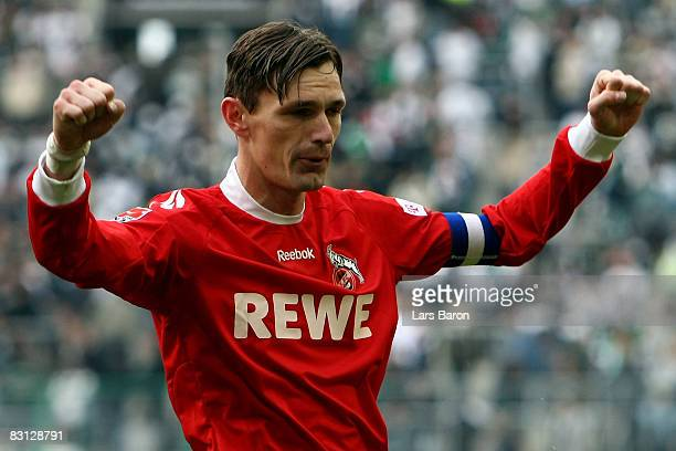 Milivoje Novakovic of Koeln, who scored the winning goal, celebrates after winning the Bundesliga match between Borussia Moenchengladbach and 1. FC...