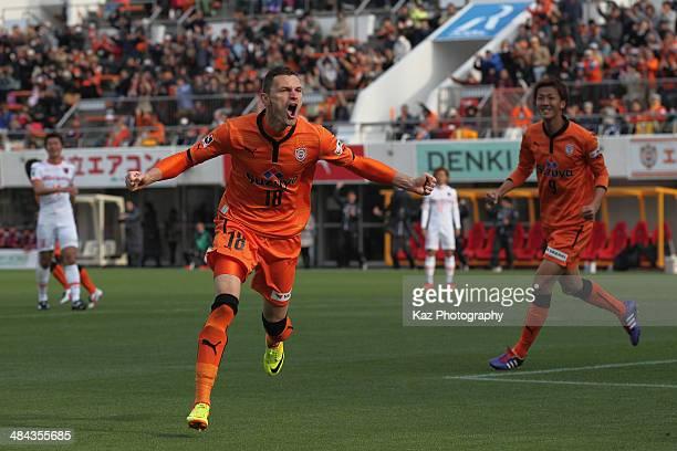 Milivoje Novakovic of Shimizu S-Pulse celebrates scoring his team's first goal during the J. League match between Shimizu S-Pulse and Omiya Ardija at...