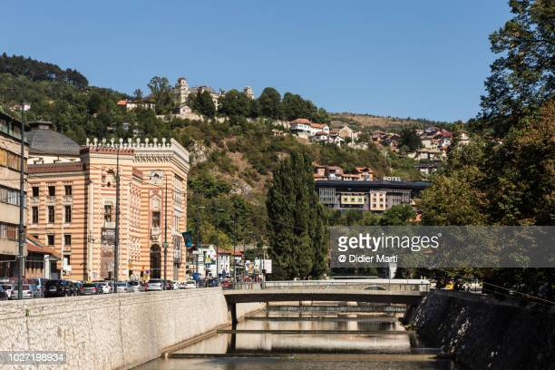 miljacka river in sarajevo old town in bosnia - didier marti stock photos and pictures