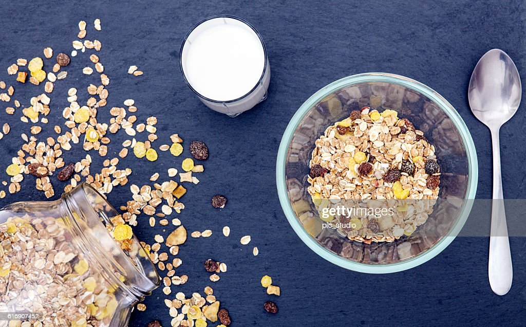 Milk and cereal breakfast : Stock Photo