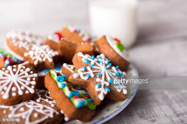 Milk and gingerbread cookies decorated with icing