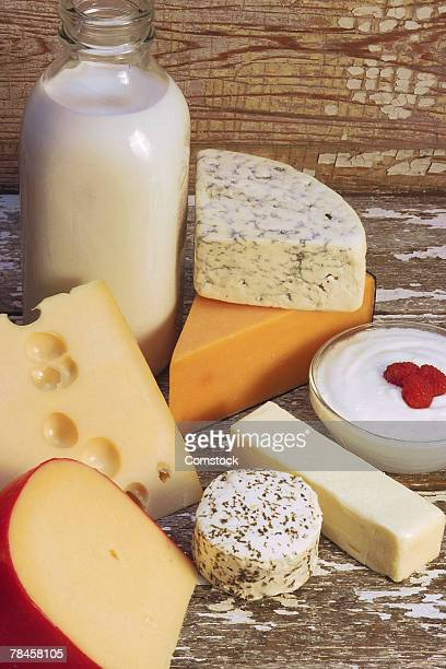 Milk and various cheeses