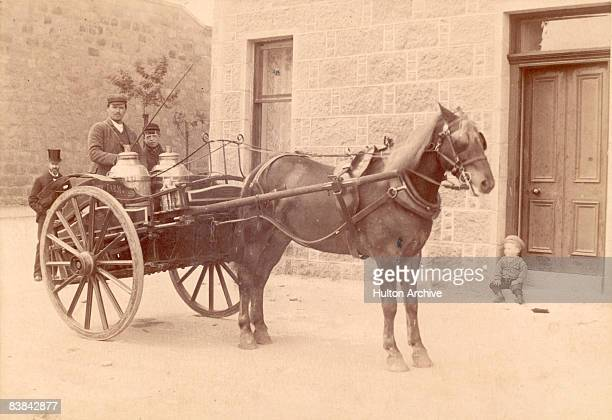 Milk being delivered by cart in Scotland circa 1880