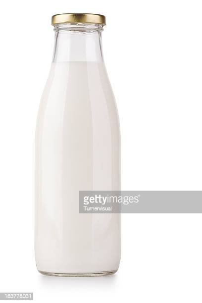 milk bottle + clipping path - milk bottle stock pictures, royalty-free photos & images