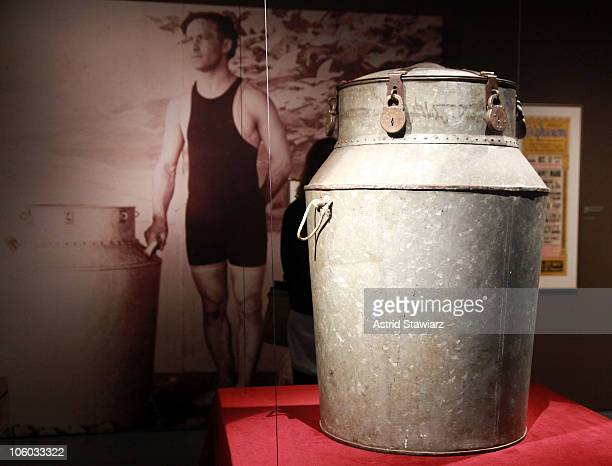 Milk Can used by Harry Houdini is seen during the Houdini Art And Magic exhibition press preview at The Jewish Museum on October 25 2010 in New York...