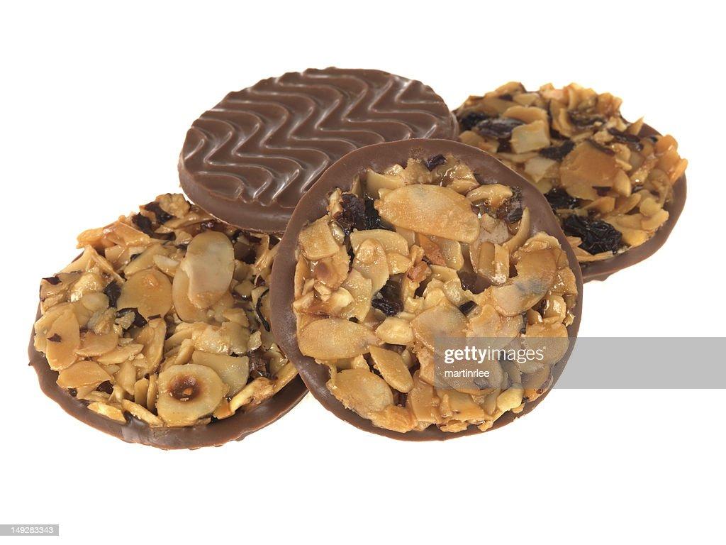 Milk Chocolate Florentine Biscuits : Stock Photo