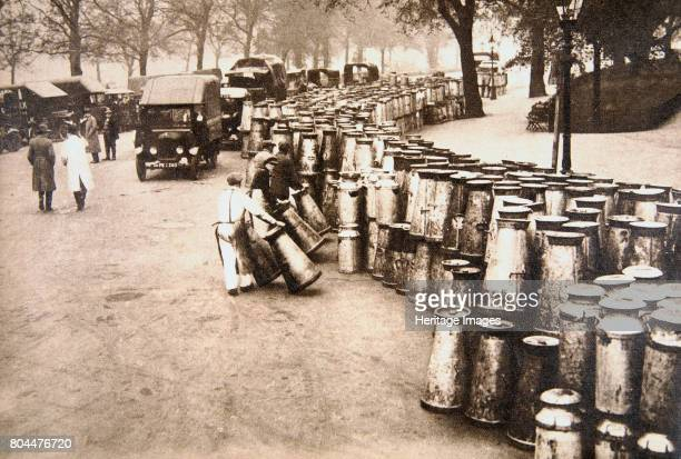 Milk churns being delivered to Hyde Park London during the General Strike 8 May 1926 The General Strike lasted ten days from 3 to 13 May 1926 It was...