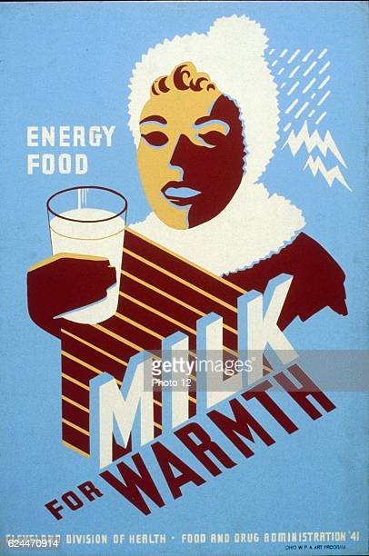 Milk for warmth Energy food Poster for the Federal Art Project WPA Art Program 1941 Print on board silkscreen Poster for Cleveland Division of Health...
