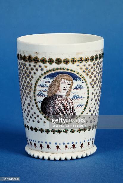 Milk glass goblet enamelled and decorated with two portraits of a young man 14951505 Italy 15th16th century Cleveland The Cleveland Museum Of Art