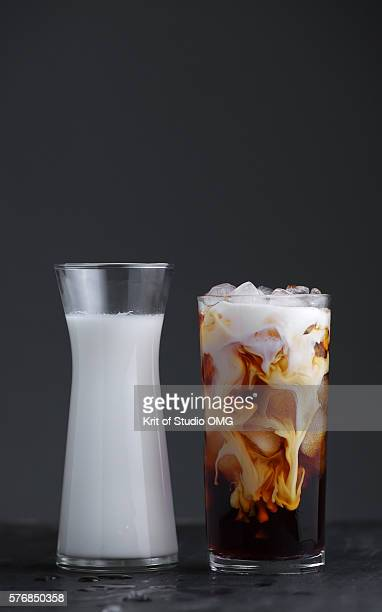 Milk in Iced coffee glass