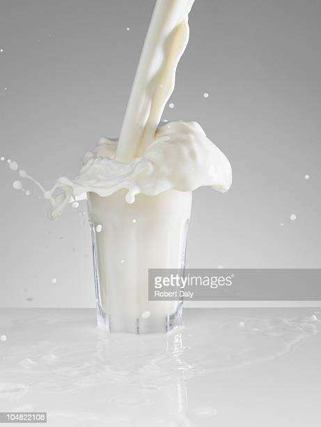 Milk splashing in full glass