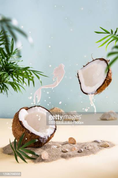 milk splashing out of split coconut - coconut stock pictures, royalty-free photos & images