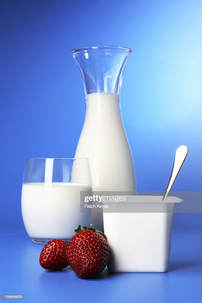 Milk Strawberries And Yoghurt High-Res Stock Photo - Getty ...