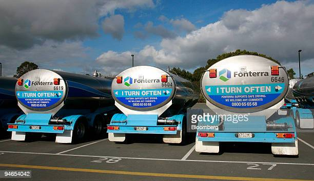 A milk tanker stands parked at the Rapa Fonterra factory in Hamilton New Zealand on Monday July 24 2006 New Zealand's annual trade deficit narrowed...