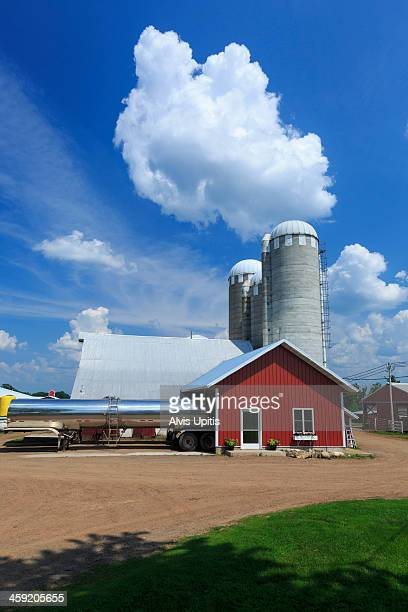 milk tankers loading milk at dairy farm - milk tanker stock photos and pictures
