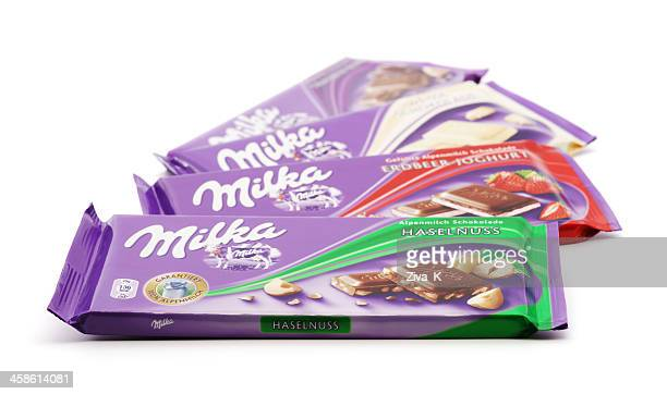 milka chocolates - candy wrapper stock photos and pictures