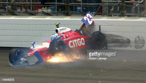 Milka Duno driver of the CITGO Racing Dallara Honda crashes during the IRL Indycar Series 91st running of the Indianapolis 500 at the Indianapolis...