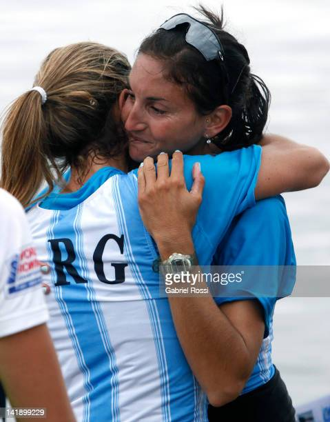 Milka Kraljev and Clara Rohner from Argentina celebrates after qualifying for London 2012 during the women's Pair final during the Latin American...