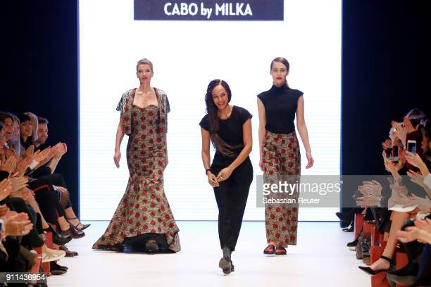 Milka Loff Fernandes acknowledges the applause of the audience after her show cabo by Milka at the 'Platform Fashion Selected' during Platform...