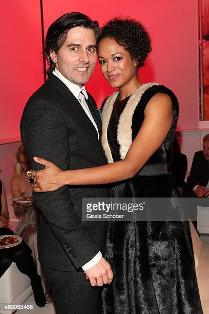 Milka Loff Fernandes and her huasband Robert Irschara attend the Ein Herz fuer Kinder Gala 2014 after show party at Tempelhof Airport on December 6...