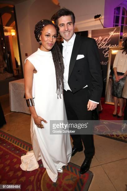 Milka Loff Fernandes and her husband Robert Irschara during the Semper Opera Ball 2018 reception at Hotel Taschenbergpalais near Semperoper on...