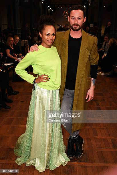 Milka Loff Fernandes and Marcel Ostertag pose at the Marcel Ostertag show at Magazin at Heeresbaeckerei on January 20 2015 in Berlin Germany