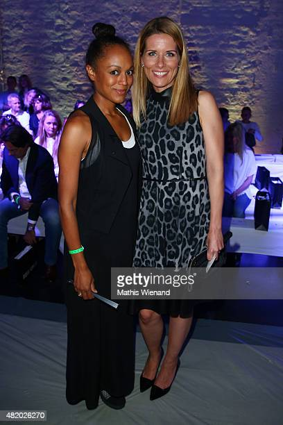 Milka Loff Fernandes and Miriam Lange arrive for the Barbara Schwarzer show during Platform Fashion July 2015 at Areal Boehler on July 26 2015 in...
