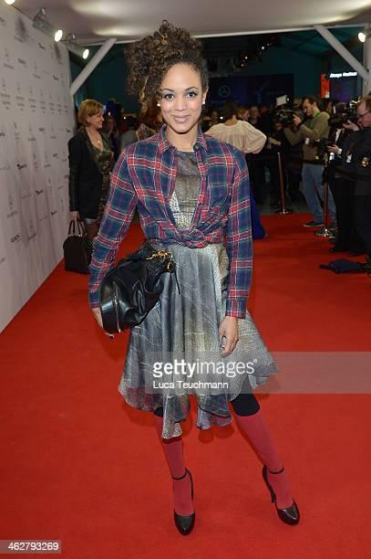 Milka Loff Fernandes arrives for the Marcel Ostertag show during MercedesBenz Fashion Week Autumn/Winter 2014/15 at Brandenburg Gate on January 15...