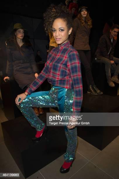 Milka Loff Fernandes attends the Nobis Fashion Show at Microsoft Berlin on January 15 2014 in Berlin Germany