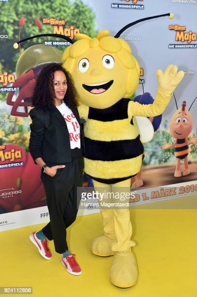 Milka Loff Fernandes attends the premiere of 'Biene Maja Die Honigspiele' at Mathaeser Filmpalast on February 25 2018 in Munich Germany