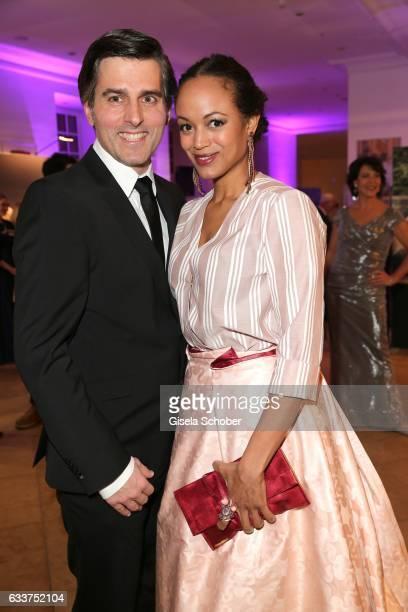 Milka LoffFernandes and her husband Robert Irschara during the Semper Opera Ball 2017 reception at Hotel Taschenbergpalais Kempinski on February 3...