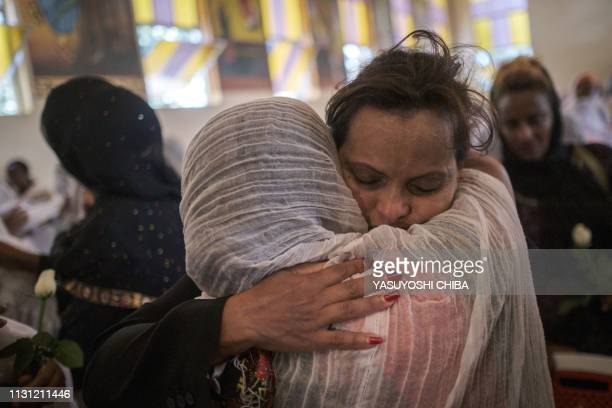 Milka Yimam who lost her 27year old son Sidrak Getachew reacts after a special service for the families of the victims of the crashed Ethiopia...