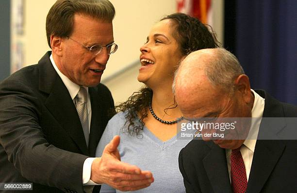 NOVEMBER 17 2010 –– Milken Family Foundation Chairman Lowell Milken left and LAUSD Superintendent Ramon Cortines right flank Maywood Elementary...