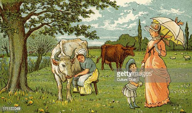 Milking cow for chocolate and milk in late 19th century France Peasant milking cow mother with parasol and child 1882 Drwn by Thomas Crane