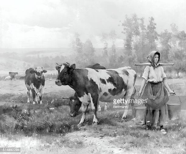 Milkmaid and Cows Painting by Dupre
