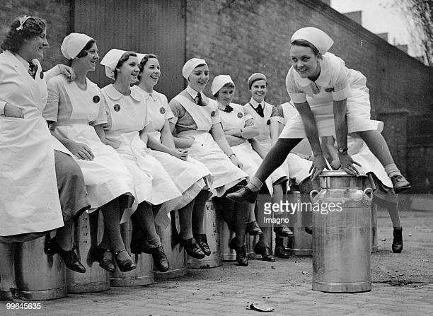 Milkmaids exercising sports Photograph 18th of October 1937 Photo by Austrian Archives /Imagno/Getty Images