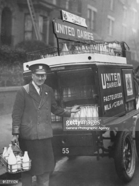 A milkman and his horsedrawn float circa 1935