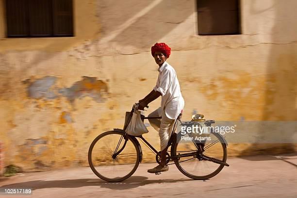 Milkman on Bicycle, Bundi, Rajasthan, India