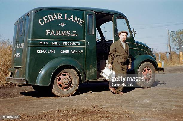 Milkman Stepping out of Milk Truck