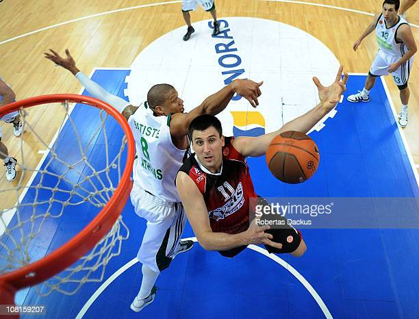 Milko Bjelica, #11 of Lietuvos Rytas in action against Mike Batiste, #8 of Panathinaikos Athens during the 2010-2011 Turkish Airlines Euroleague Top...