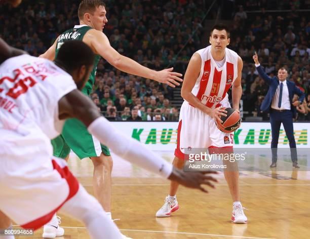 Milko Bjelica #51 of Crvena Zvezda mts Belgrade competes with Edgaras Ulanovas #92 of Zalgiris Kaunas in action during the 2017/2018 Turkish Airlines...