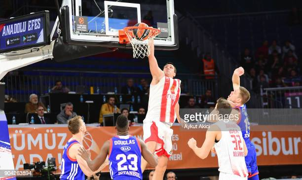 Milko Bjelica #51 of Crvena Zvezda mts Belgrade in action during the 2017/2018 Turkish Airlines EuroLeague Regular Season Round 17 game between...