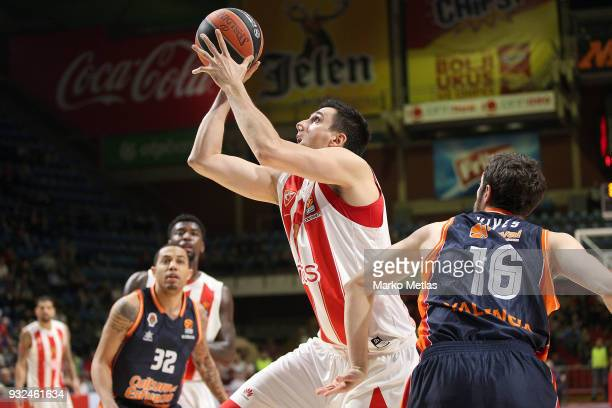 Milko Bjelica #51 of Crvena Zvezda mts Belgrade in action during the 2017/2018 Turkish Airlines EuroLeague Regular Season Round 26 game between...