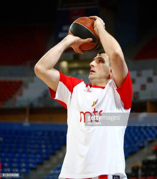 Milko Bjelica #51 of Crvena Zvezda mts Belgrade warm up during the 2017/2018 Turkish Airlines EuroLeague Regular Season Round 21 game between...