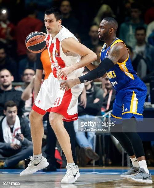Milko Bjelica of Crvena Zvezda in action against James Anderson of Khimki during the 2017/2018 Turkish Airlines EuroLeague Regular Season Round 18...