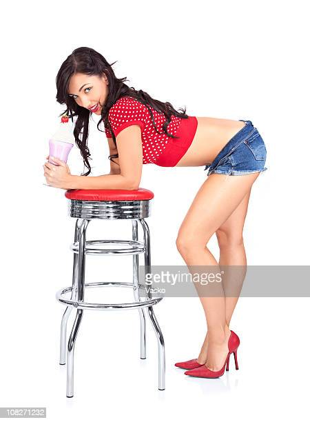 milkshake babe - beautiful women bent over stock photos and pictures