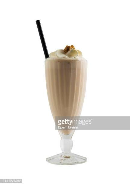 milkshake cut out on a seamless white background. - milkshake stock pictures, royalty-free photos & images