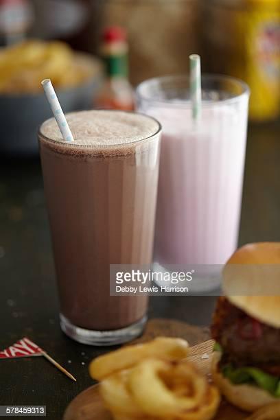 Milkshakes, burger and onion rings