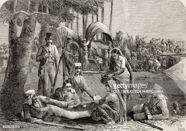 Milkwomen at the military camp scenes from India illustration from the magazine The Illustrated London News volume XLIV October 1 1864